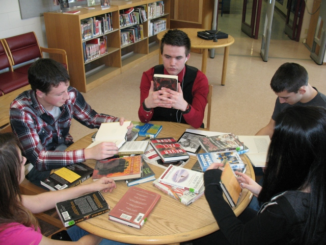 "MHS Students experienced ""Speed Dating"" Library-style as they moved from table to table experiencing offerings in a variety of genre's!"