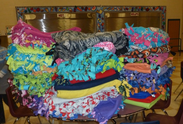 40 blankets made by MHS students for their homeless peers across the state.