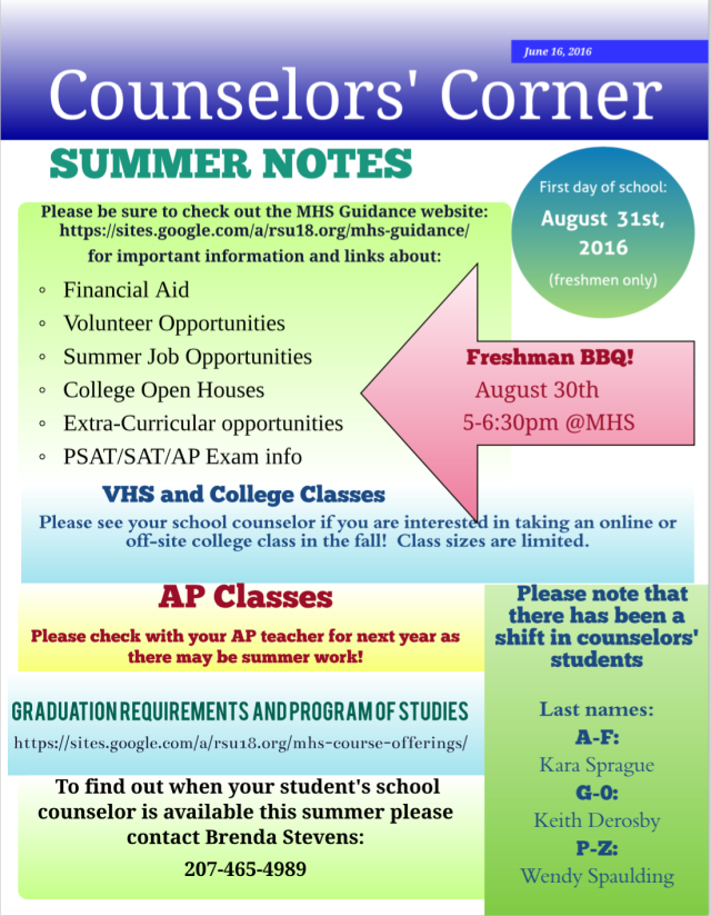 Counselors Corner, Summer 2016